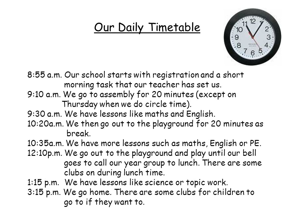 Our Daily Timetable