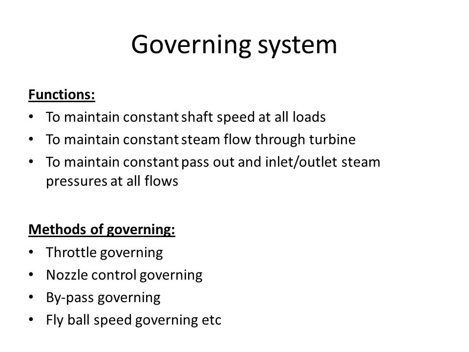 Governing system Functions: