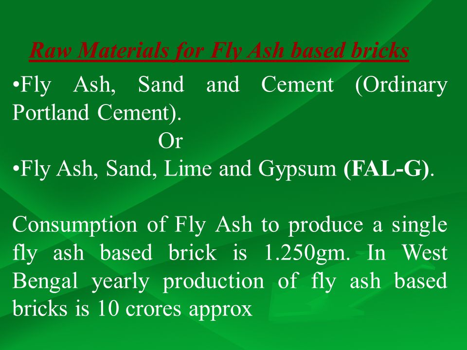 Raw Materials for Fly Ash based bricks