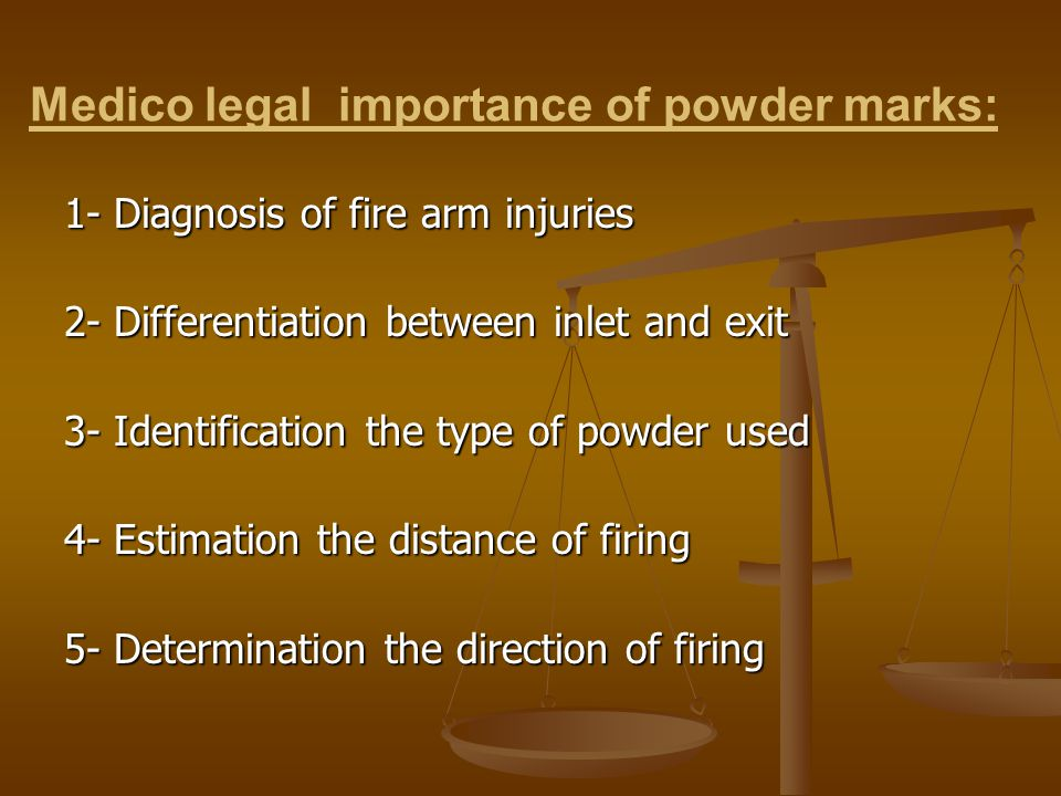 Medico legal importance of powder marks: