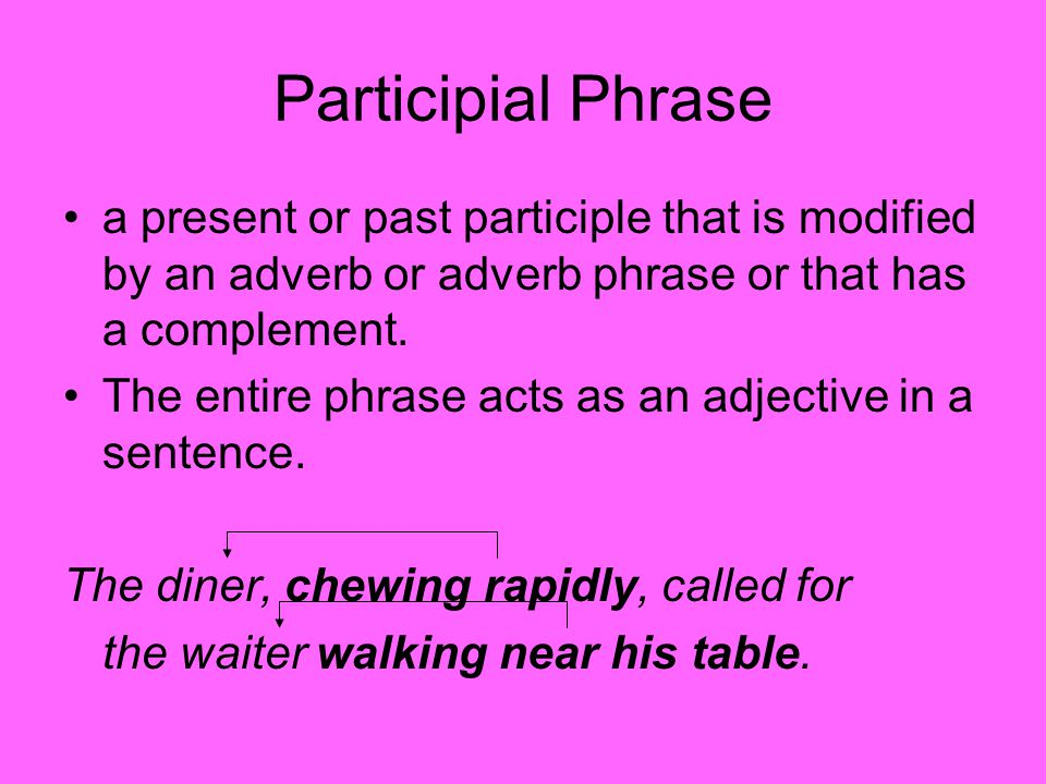 Participial Phrase a present or past participle that is modified by an adverb or adverb phrase or that has a complement.