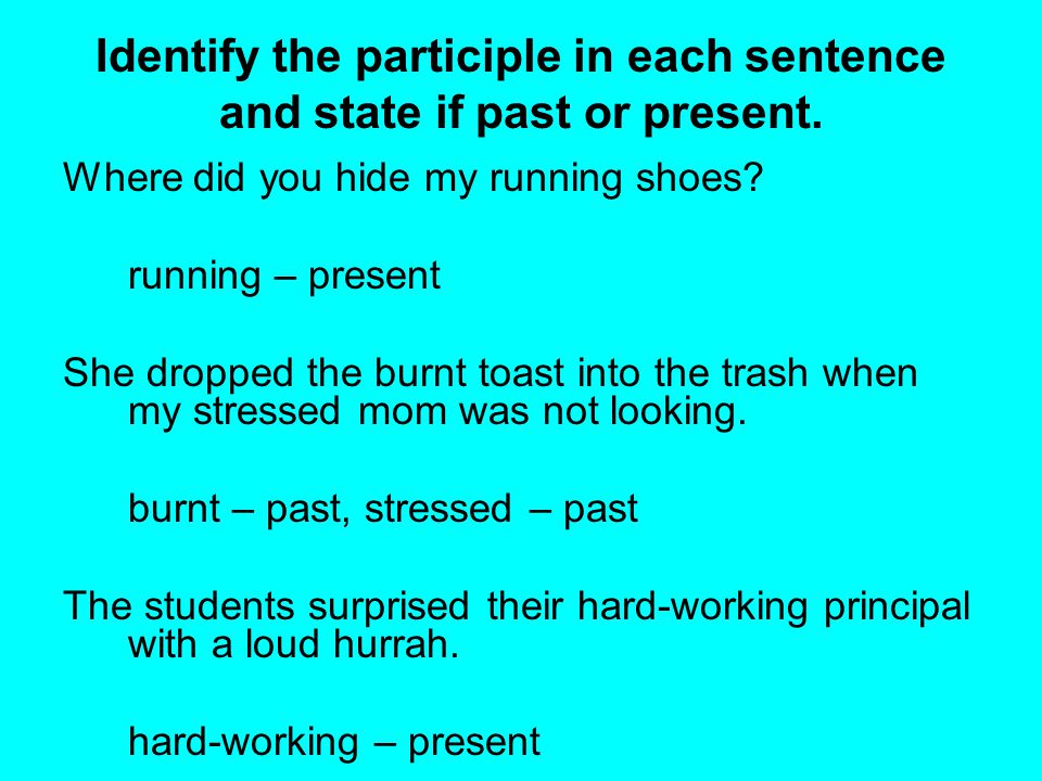 Identify the participle in each sentence and state if past or present.