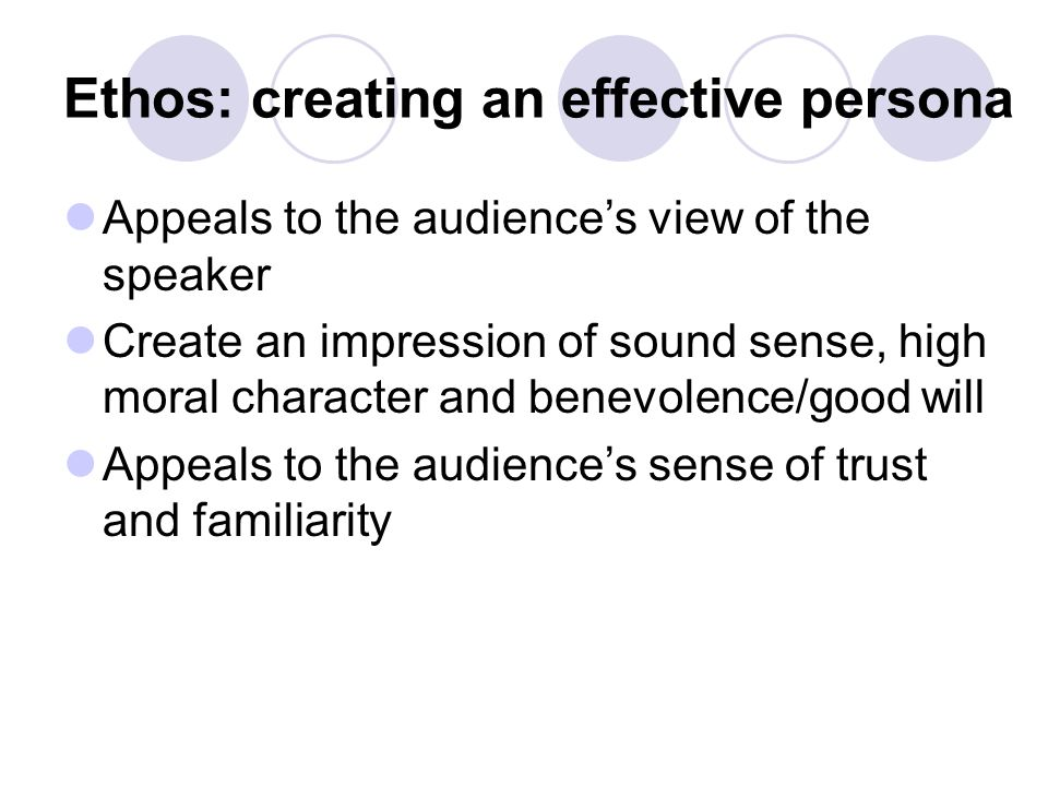 Ethos: creating an effective persona