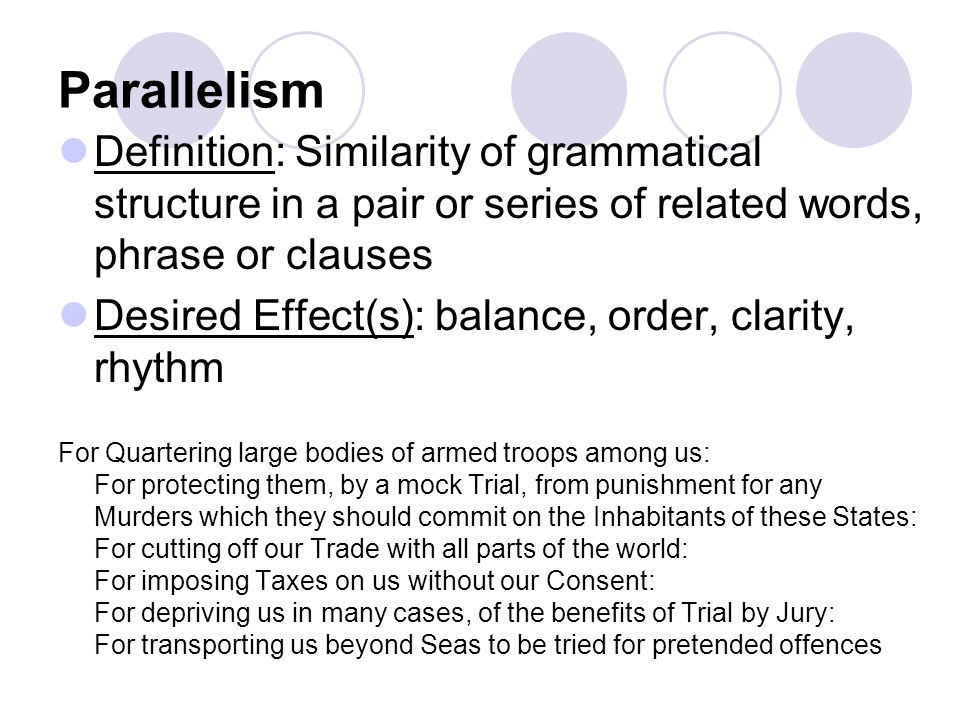 Parallelism Definition: Similarity of grammatical structure in a pair or series of related words, phrase or clauses.