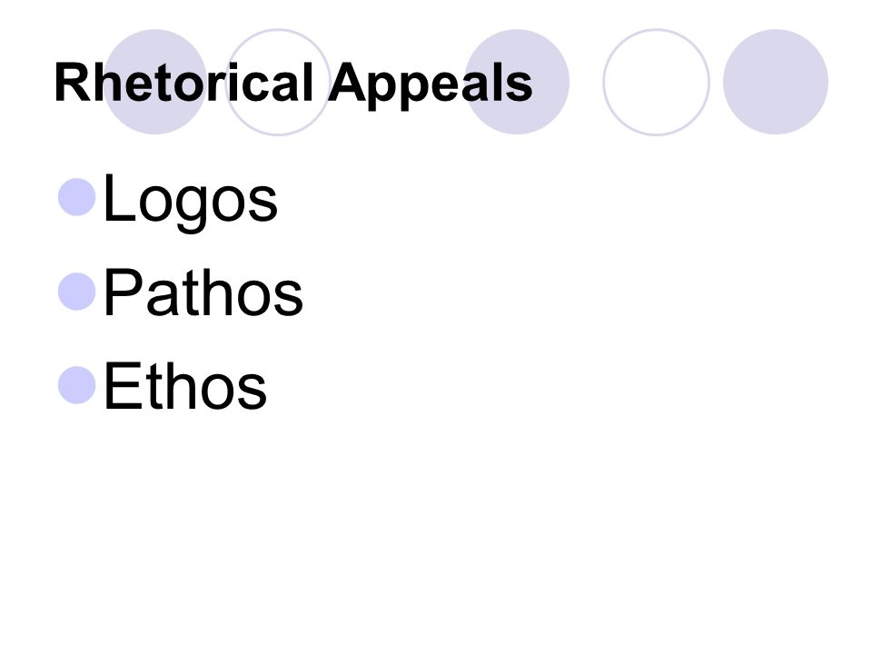 Rhetorical Appeals Logos Pathos Ethos