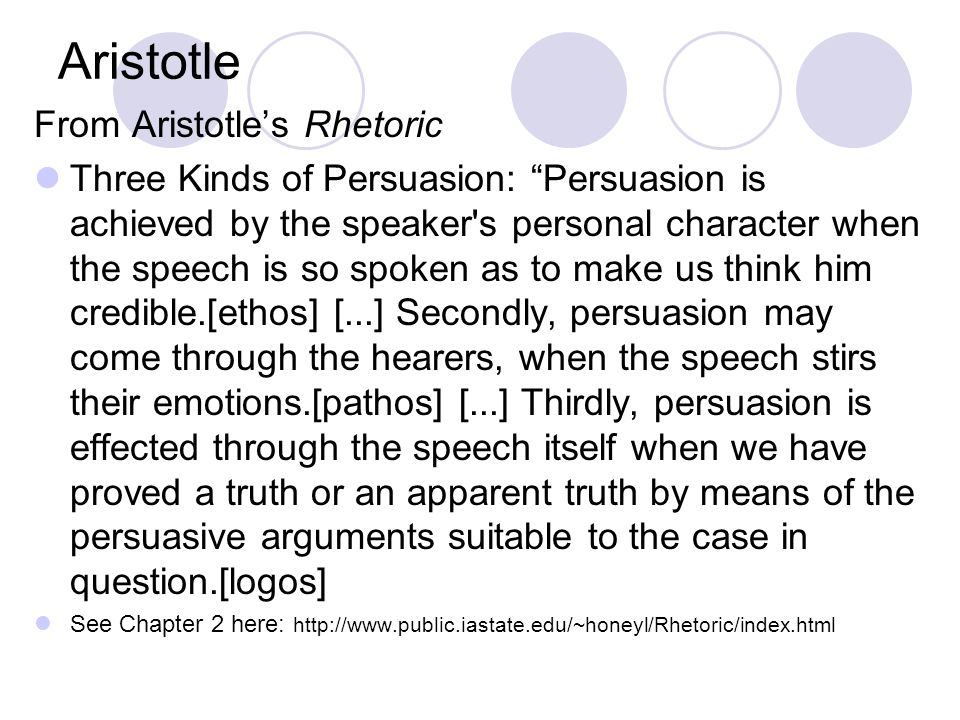 Aristotle From Aristotle's Rhetoric