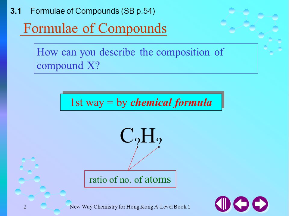 1st way = by chemical formula