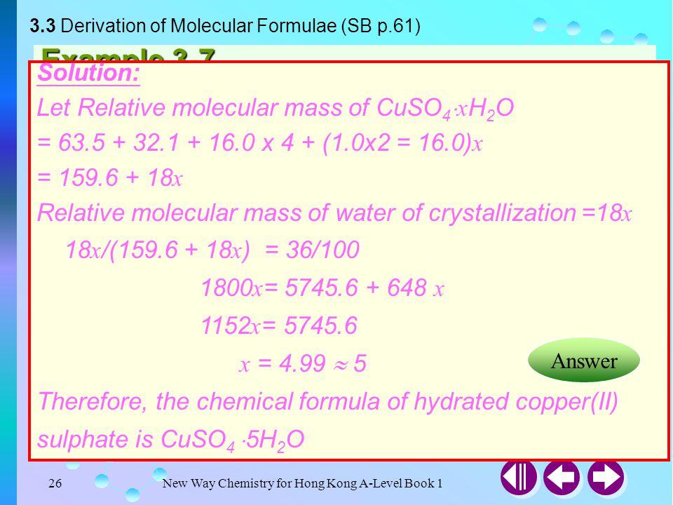 3.3 Derivation of Molecular Formulae (SB p.61)