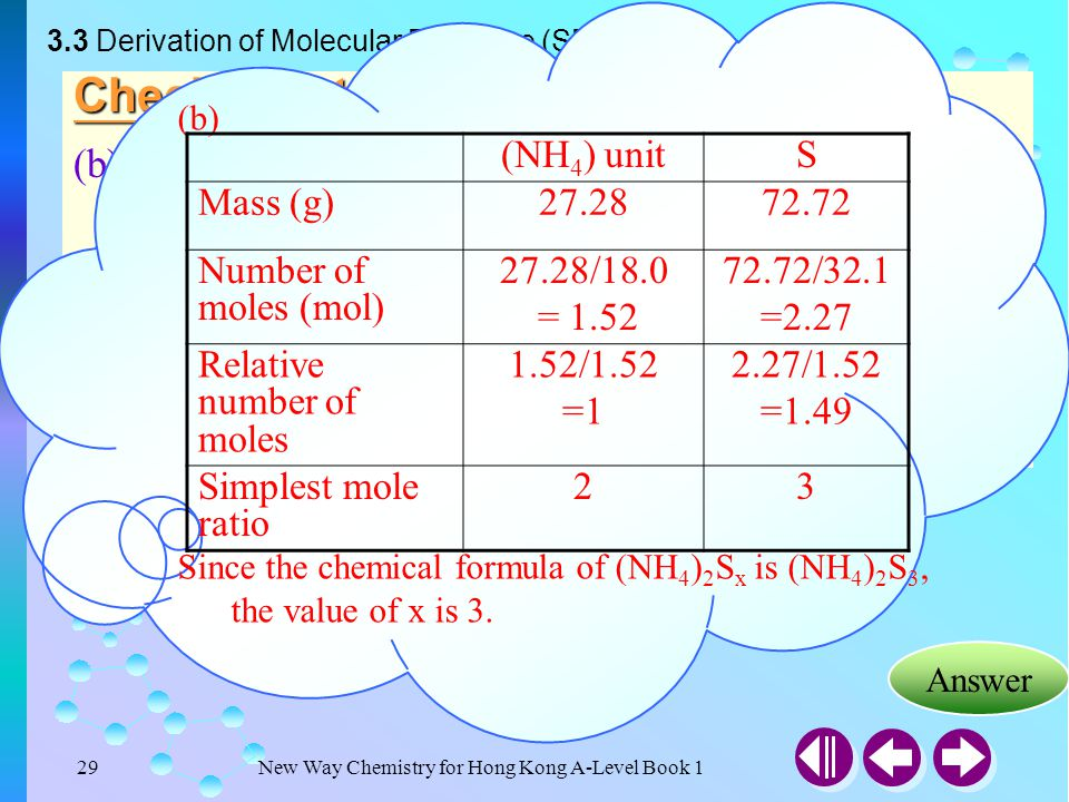 (b) Since the chemical formula of (NH4)2Sx is (NH4)2S3, the value of x is 3. 3.3 Derivation of Molecular Formulae (SB p.63)