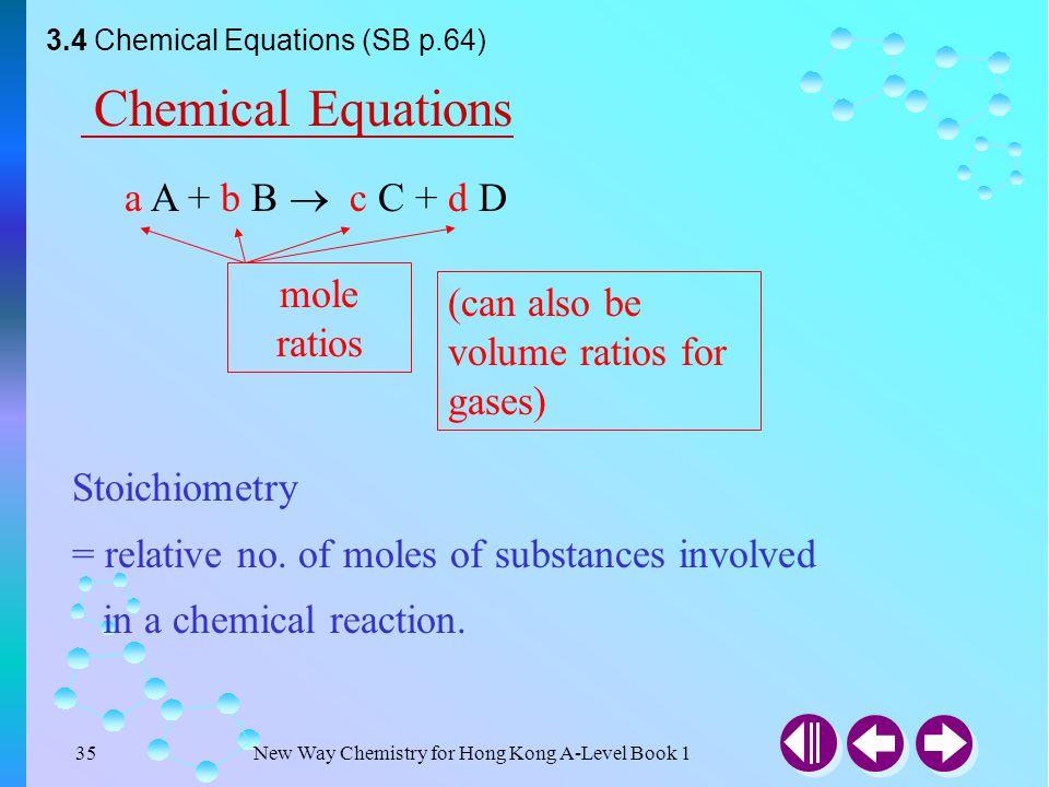 Chemical Equations a A + b B  c C + d D mole ratios