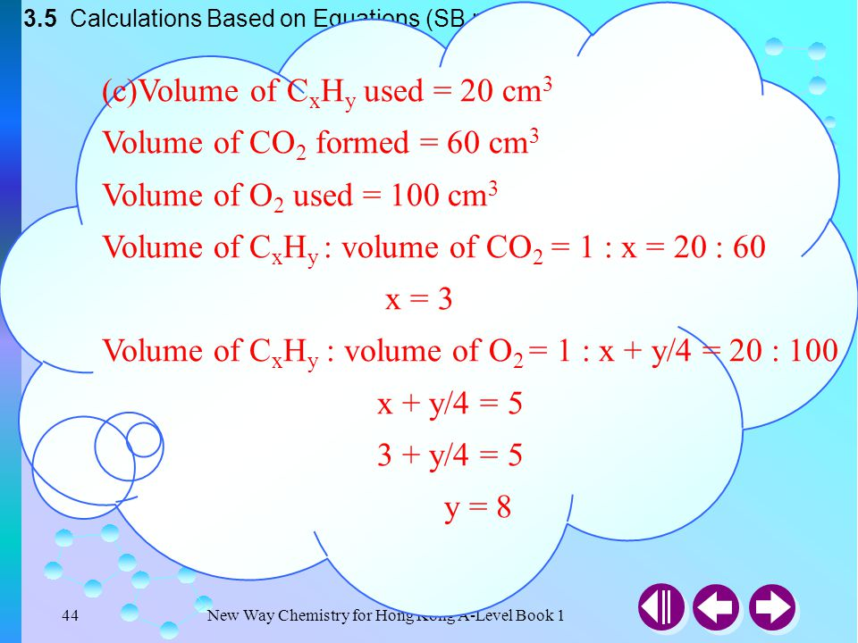 (c)Volume of CxHy used = 20 cm3 Volume of CO2 formed = 60 cm3