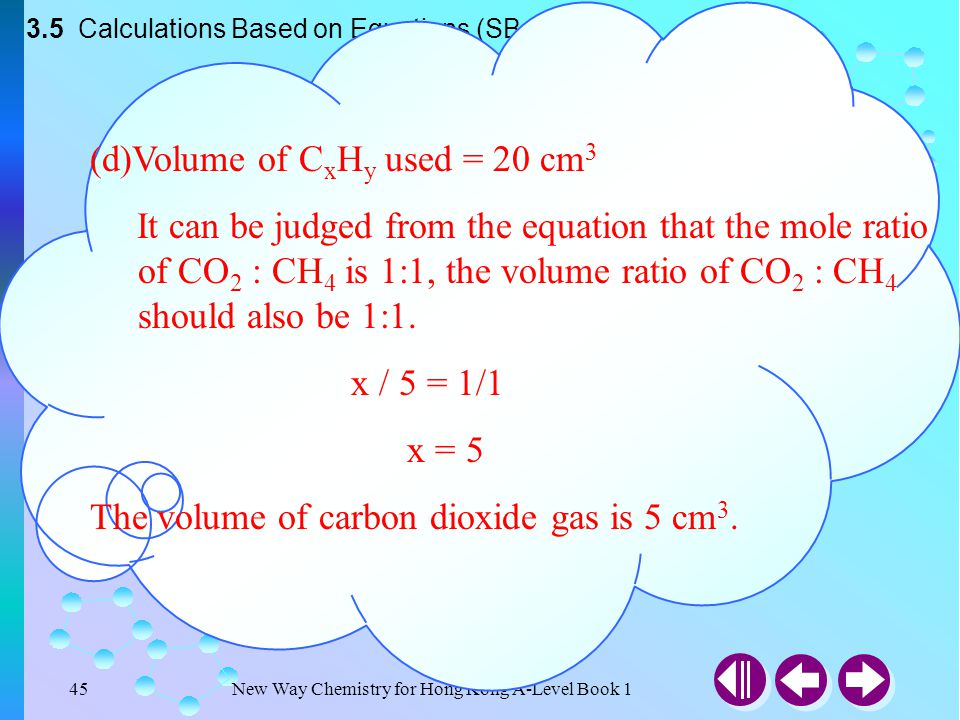 (d)Volume of CxHy used = 20 cm3
