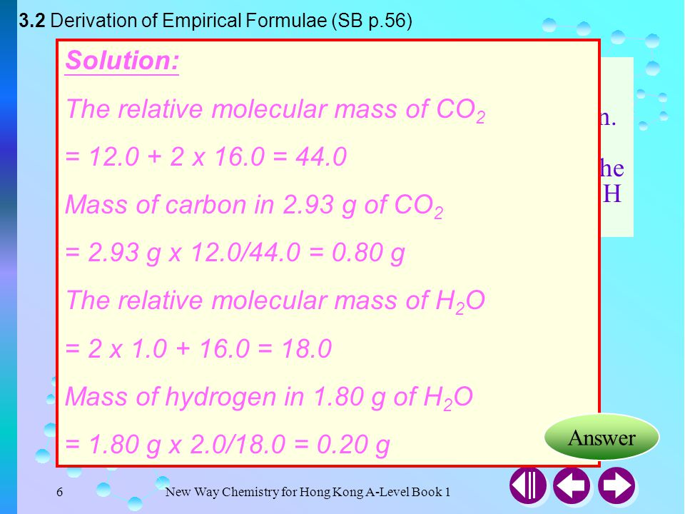 Example 3-1 Solution: The relative molecular mass of CO2