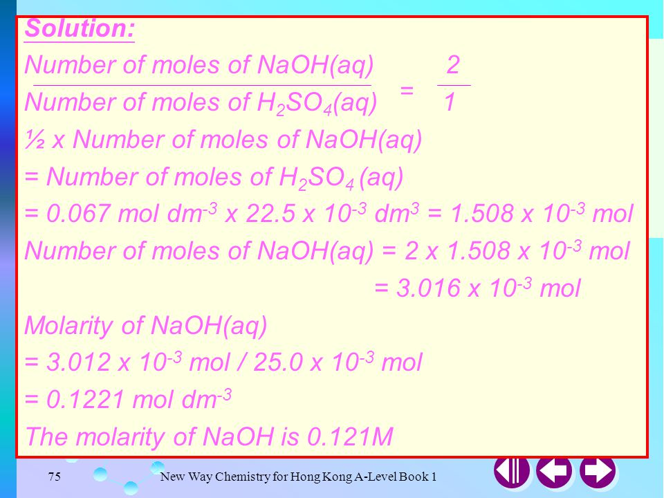 Example 3-14 Solution: Number of moles of NaOH(aq) 2