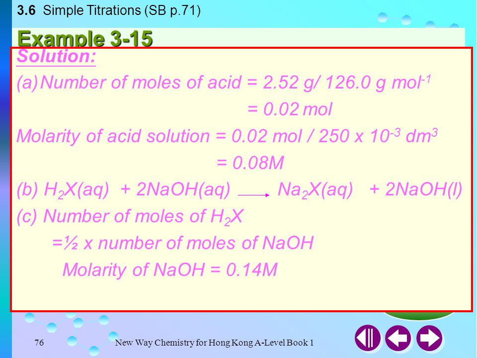 3.6 Simple Titrations (SB p.71)