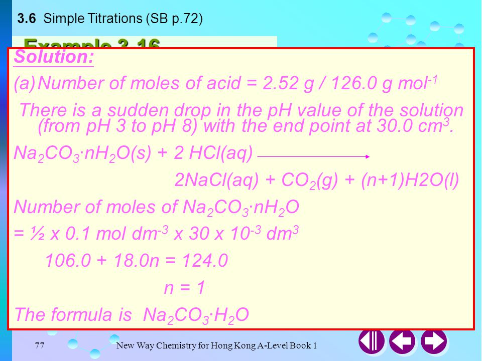 3.6 Simple Titrations (SB p.72)