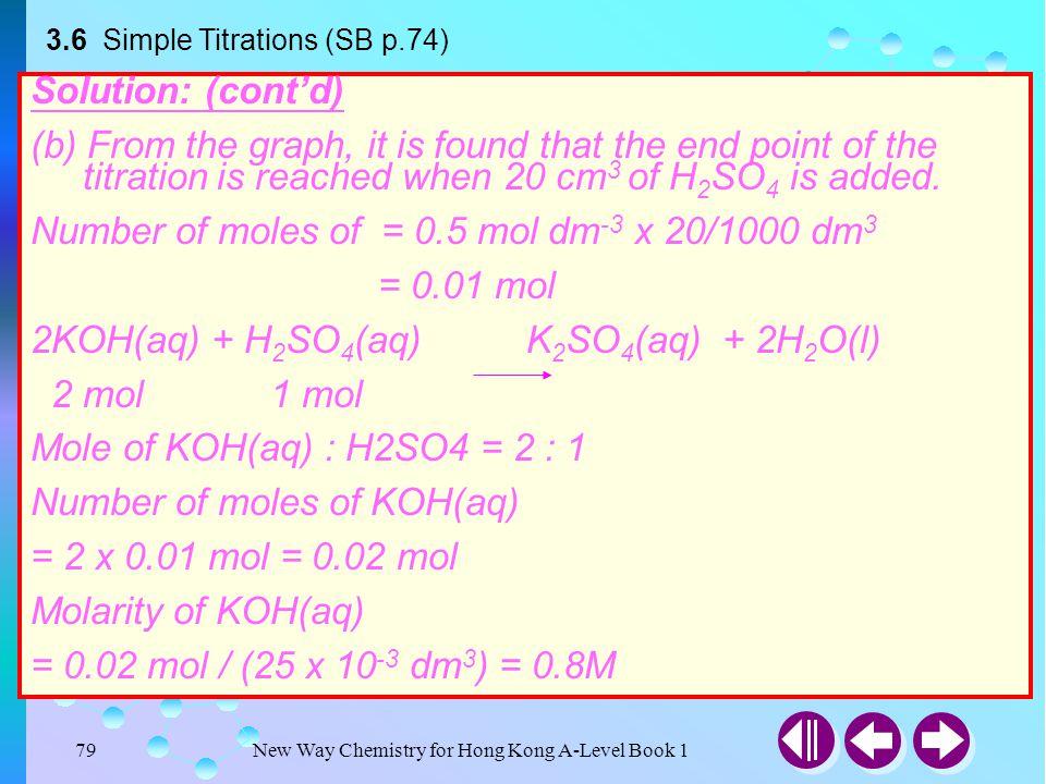 Number of moles of = 0.5 mol dm-3 x 20/1000 dm3 = 0.01 mol