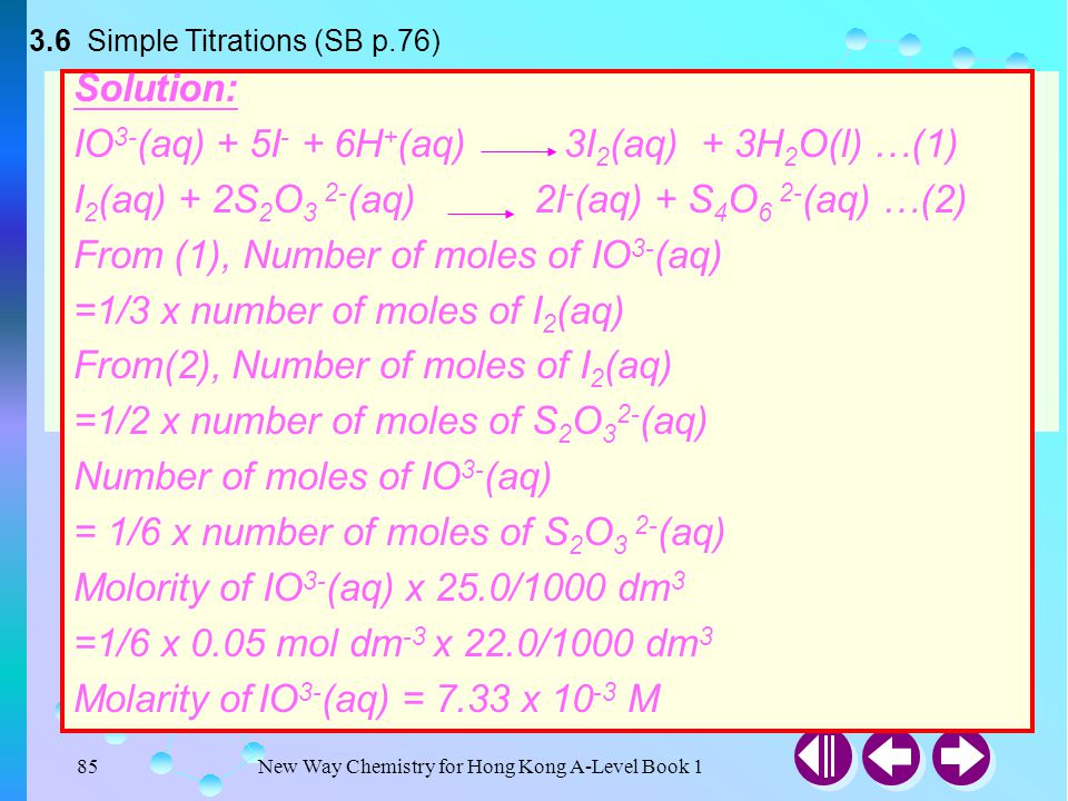 3.6 Simple Titrations (SB p.76)