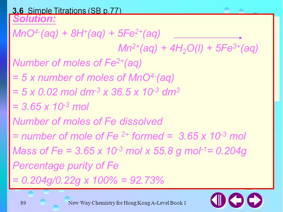3.6 Simple Titrations (SB p.77)