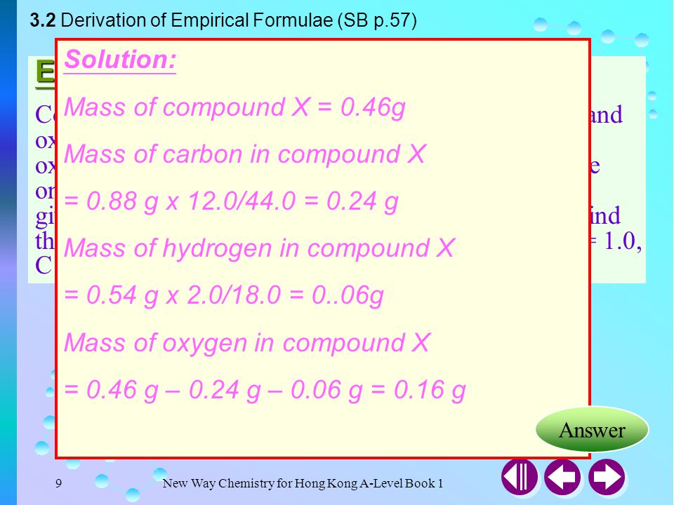 Example 3-2 Solution: Mass of compound X = 0.46g