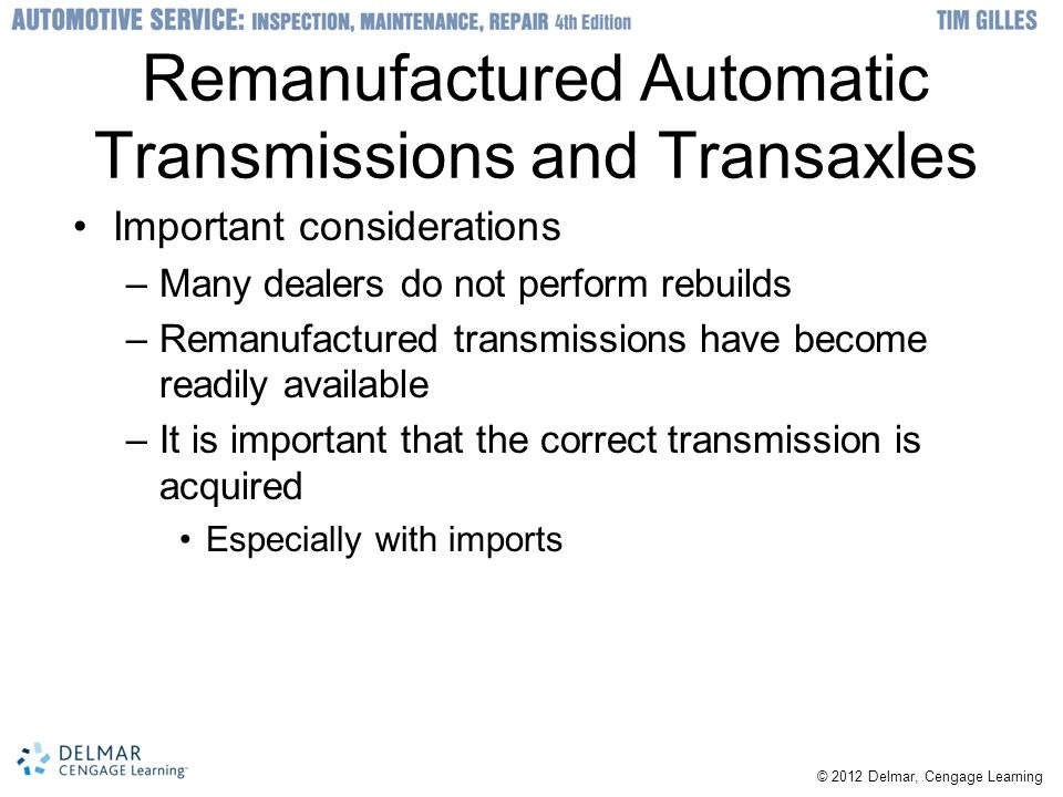Remanufactured Automatic Transmissions and Transaxles