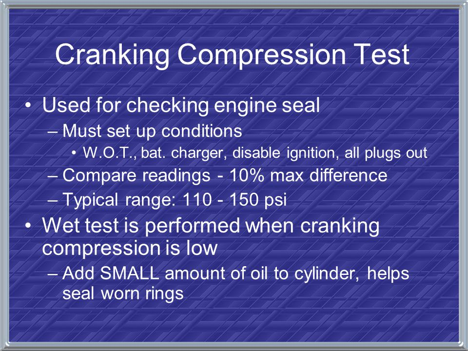 Cranking Compression Test
