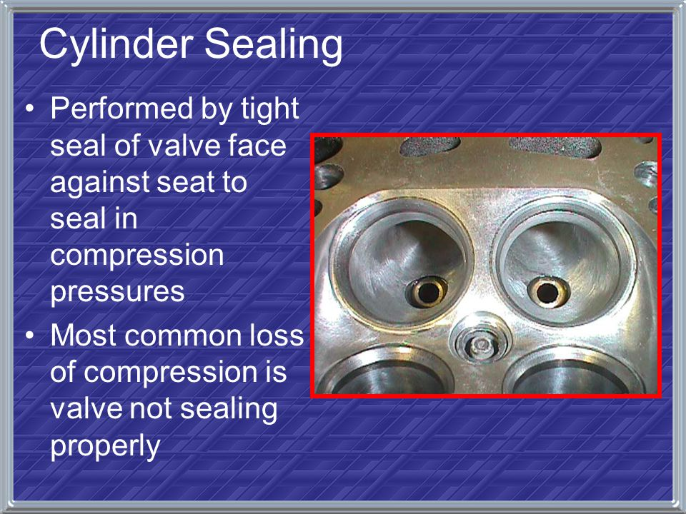 Cylinder Sealing Performed by tight seal of valve face against seat to seal in compression pressures.