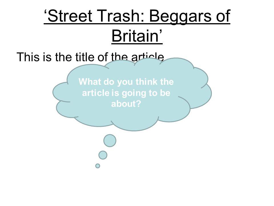 'Street Trash: Beggars of Britain'
