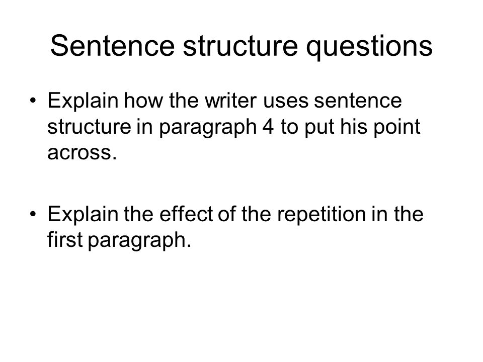 Sentence structure questions