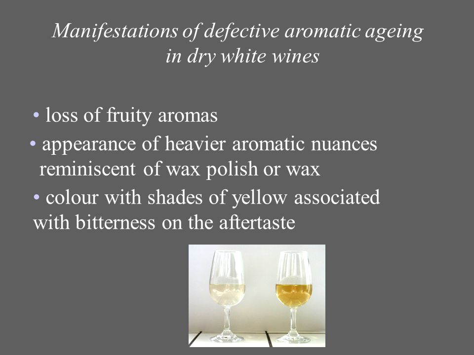 Manifestations of defective aromatic ageing