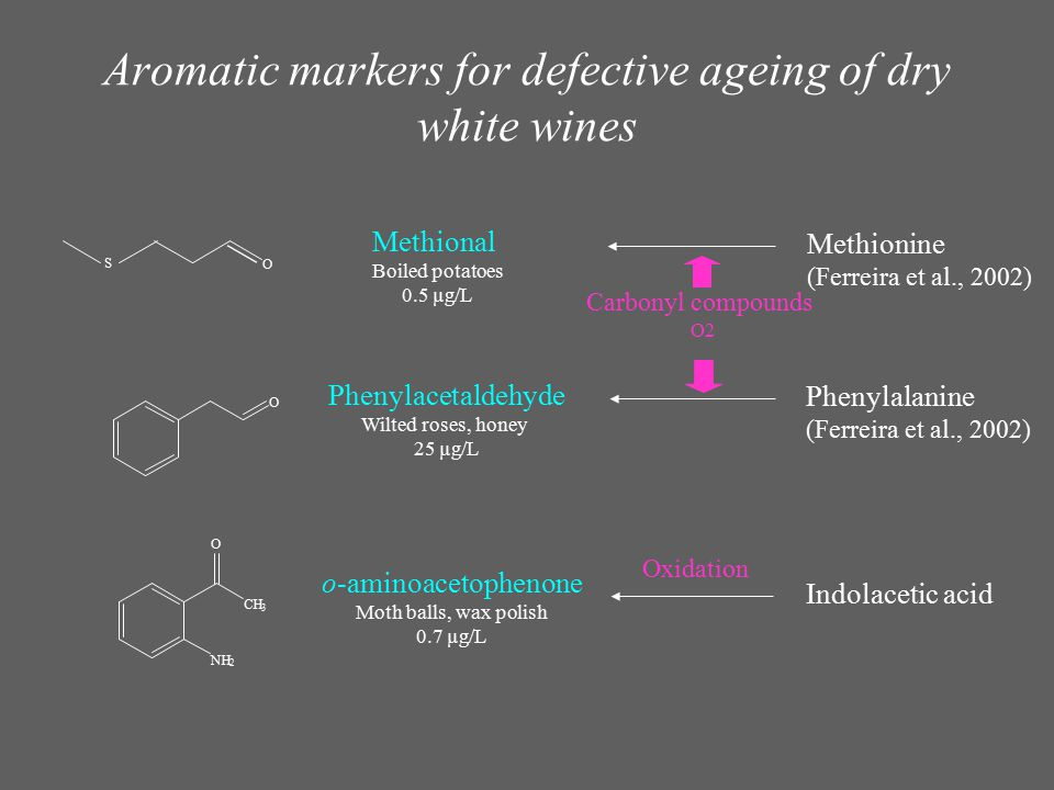 Aromatic markers for defective ageing of dry white wines