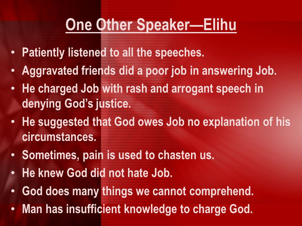One Other Speaker—Elihu
