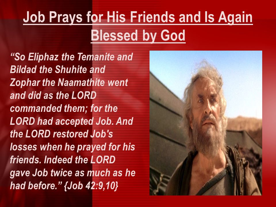 Job Prays for His Friends and Is Again Blessed by God
