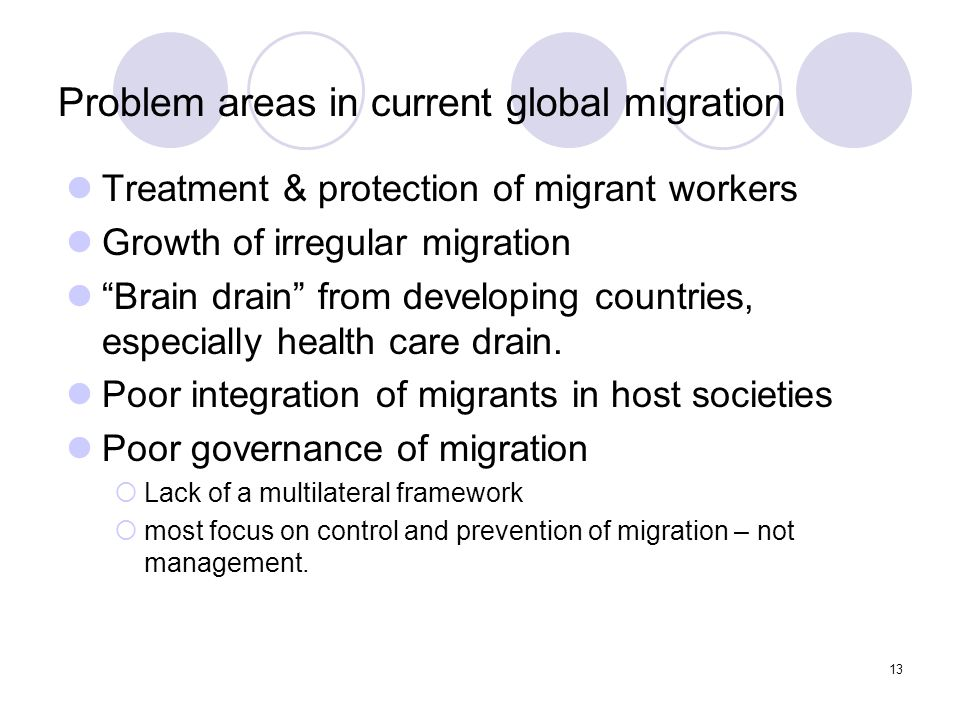 Problem areas in current global migration