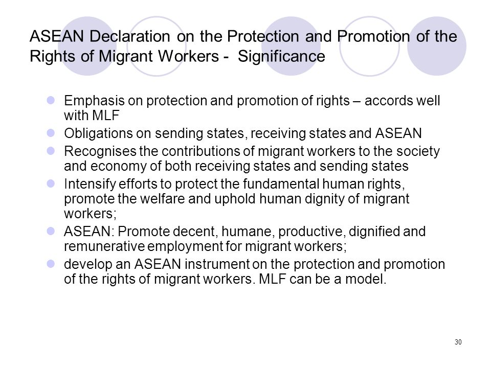 ASEAN Declaration on the Protection and Promotion of the Rights of Migrant Workers - Significance