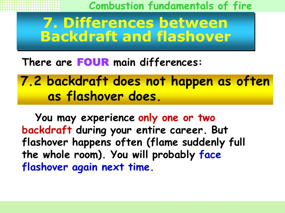 7. Differences between Backdraft and flashover