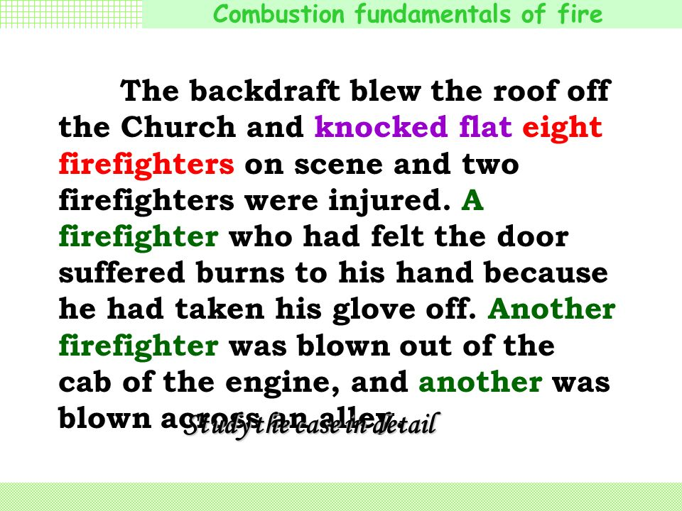 The backdraft blew the roof off the Church and knocked flat eight firefighters on scene and two firefighters were injured. A firefighter who had felt the door suffered burns to his hand because he had taken his glove off. Another firefighter was blown out of the cab of the engine, and another was blown across an alley.