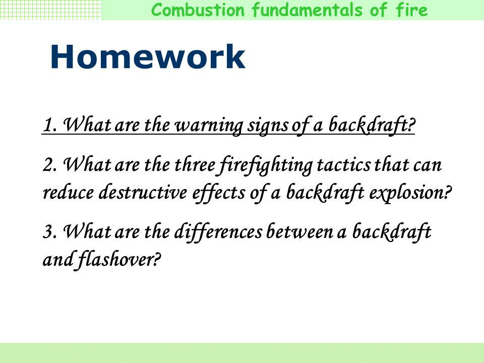 Homework 1. What are the warning signs of a backdraft