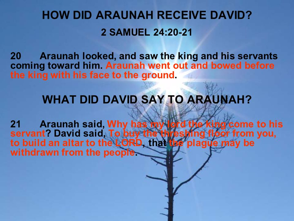 HOW DID ARAUNAH RECEIVE DAVID