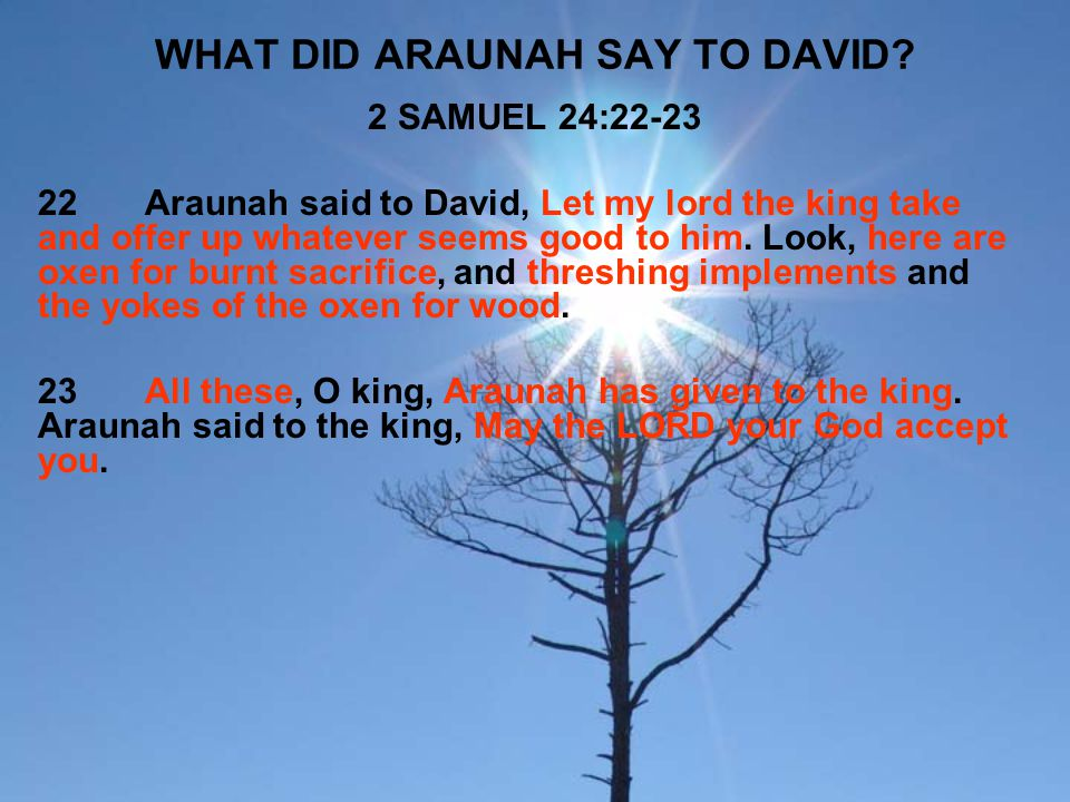 WHAT DID ARAUNAH SAY TO DAVID