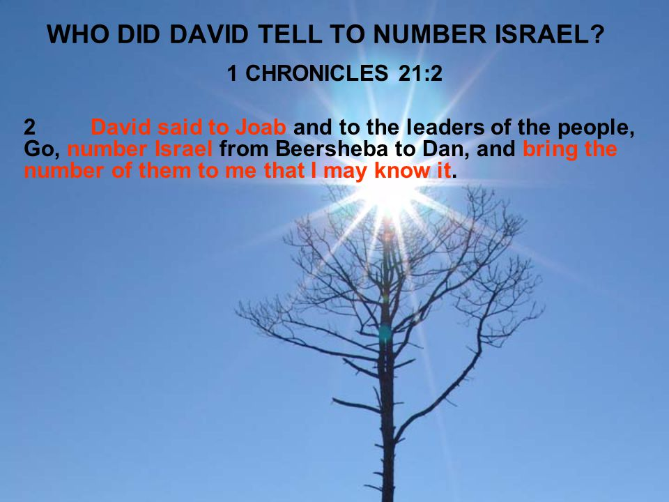 WHO DID DAVID TELL TO NUMBER ISRAEL