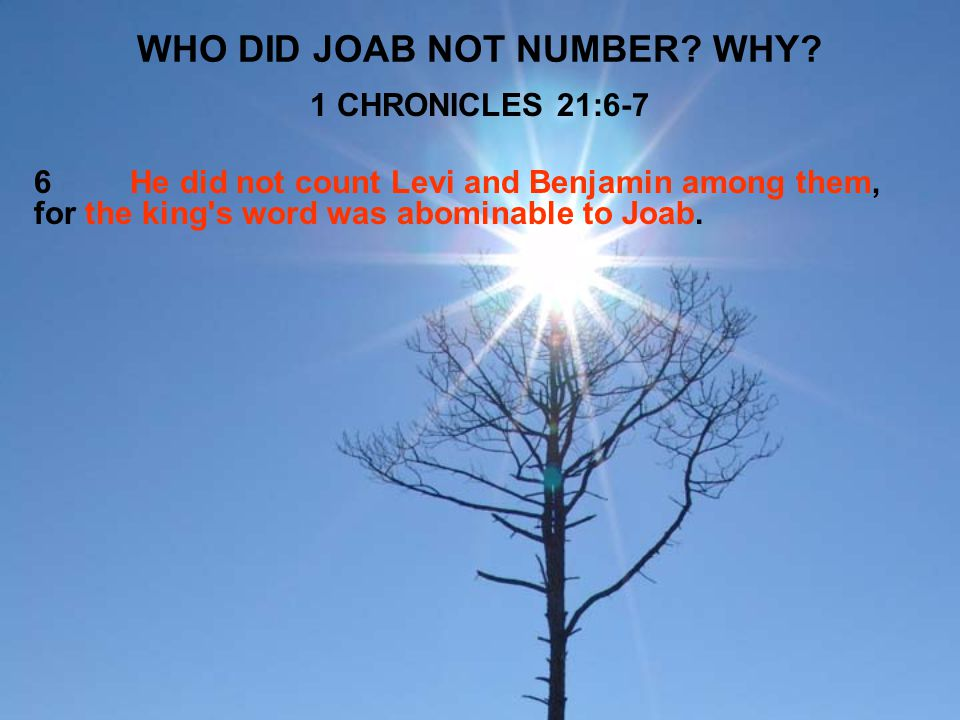 WHO DID JOAB NOT NUMBER WHY