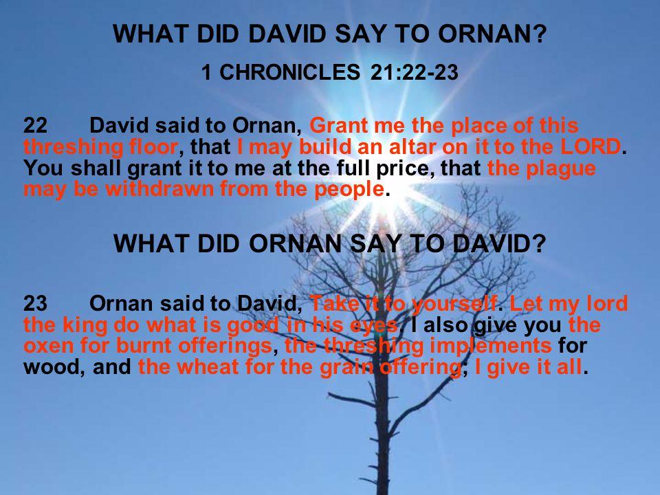 WHAT DID DAVID SAY TO ORNAN