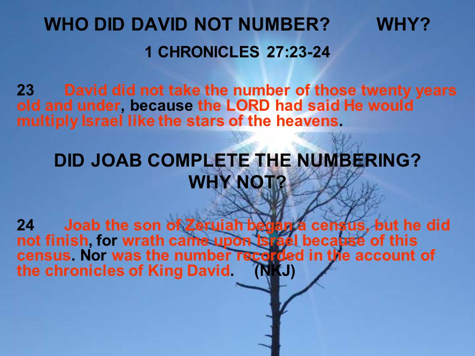 WHO DID DAVID NOT NUMBER WHY