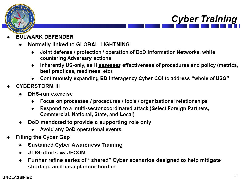 Cyber Training BULWARK DEFENDER Normally linked to GLOBAL LIGHTNING