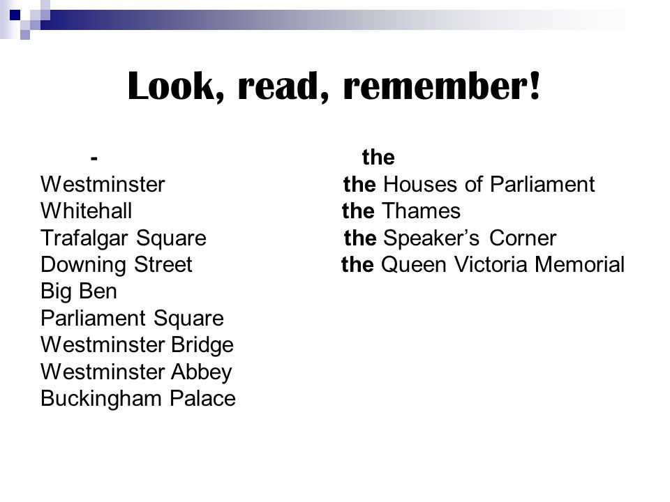 Look, read, remember! - the Westminster the Houses of Parliament
