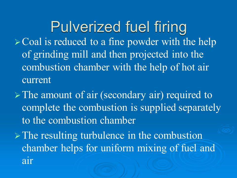 Pulverized fuel firing