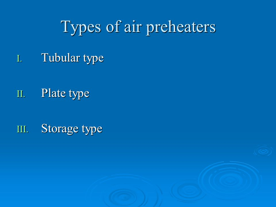 Types of air preheaters