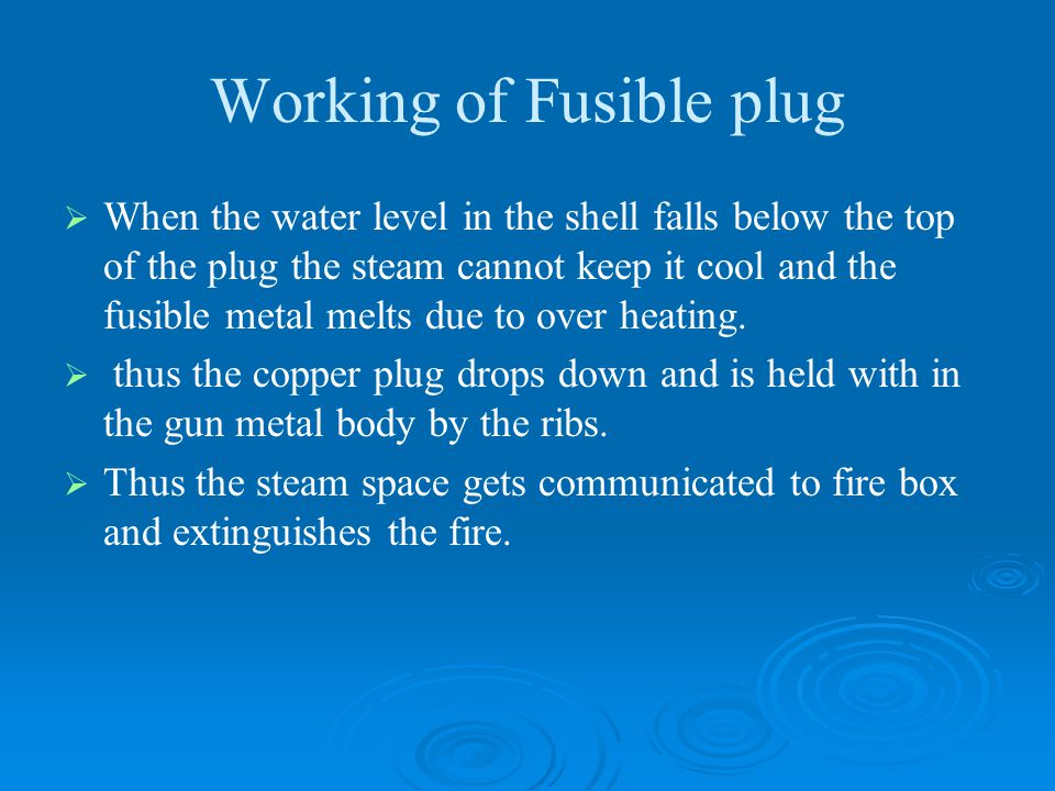 Working of Fusible plug