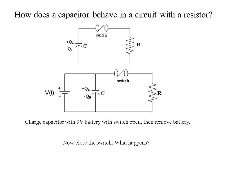 How does a capacitor behave in a circuit with a resistor
